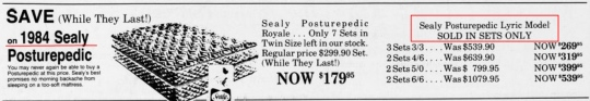 Sealy Posturepedic Lyric Advertisement